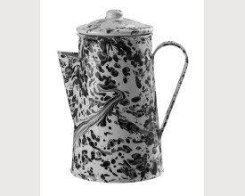 Black and White Splatterware Large Enamel Coffee feature image