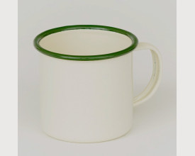 Homecook Enamelware 8cm Green and Cream Enamel Mug feature image