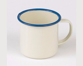 Homecook Enamelware 8cm Blue and Cream Enamel Mug feature image