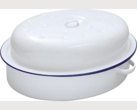 Damaged  26cm Blue and white Oval Enamel Roaster feature image