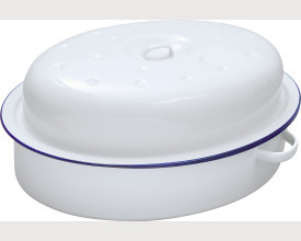 Damaged 30cm Blue and White Oval Enamel Roaster feature image