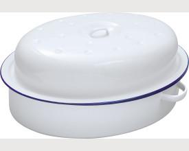 Damaged 30cm Blue and White Oval Enamel Roaster feature image
