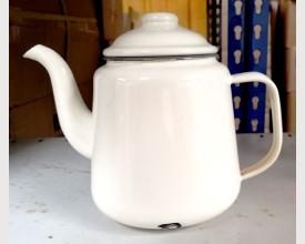 Damaged Large Grey and Cream Enamel Tea Pot 1.5 Litre feature image