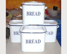 Damaged Blue and White Large Oblong Enamel Bread Bin £16.00 feature image