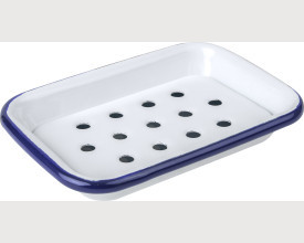 Falcon Housewares Blue and white Soap Dish with Removable Drain Tray feature image