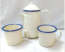 Homecook Enamelware Blue and Cream Coffee for Two Boxed Set feature image