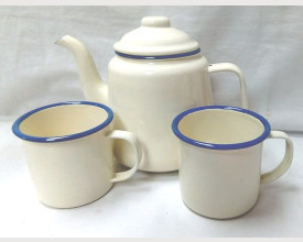 Homecook Enamelware Blue and Cream Tea for Two Boxed Tea Set feature image