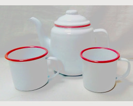 Homecook Enamelware Red and White Tea for Two Boxed Tea Set feature image