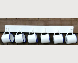 Homecook Set of 6 Blue and White Enamel Espresso 6cm mugs on white wall Hanger £11.95 feature image