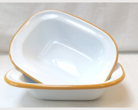 Falcon Housewares 16cm Mustard Yellow and White Oblong Pie Dish feature image