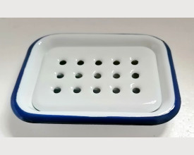 Munder Blue and White Enamel Soap Dish with Removable Drain Tray feature image