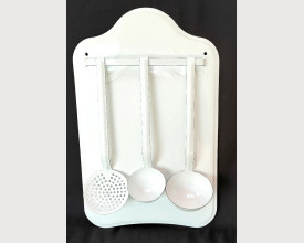 White Rustic Finish Wall Mounted Enamel Utensil Rack feature image