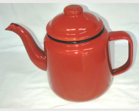 Damaged Small Red Enamel Tea Pot 1 Litre size feature image