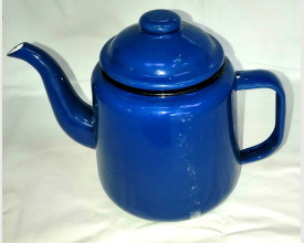 Damaged Small Blue Enamel Tea Pot 1 Litre size feature image