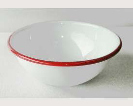 Homecook Enamelware 14cm Red and White Bowl feature image