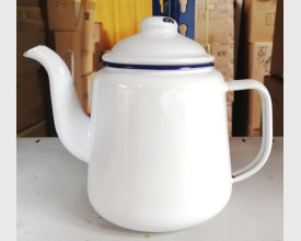 Damaged Large Blue and White Enamel Tea Pot 1.5 Litre size feature image