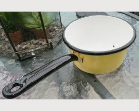 Vintage 17cm Yellow and Black Enamel Pan feature image