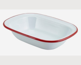 Homecook Enamelware Red and White Oblong Pie Dishes feature image