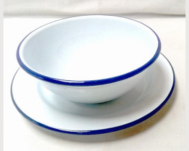 Homecook Enamelware Blue and White Soup or Noodle Bowl feature image